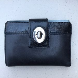 Black & Baby Blue Interior Coach Leather Wallet